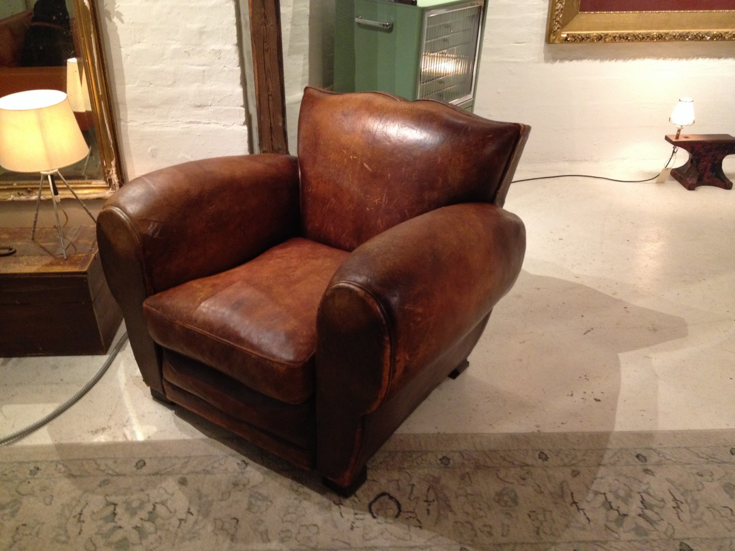 Incredible Original 1930s French U201cmoustache Backu201d Club Chair, Retaining Its  Striking And Spectacular Original Leather.